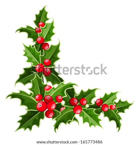 Decorative corner with Christmas holly. Vector illustration.