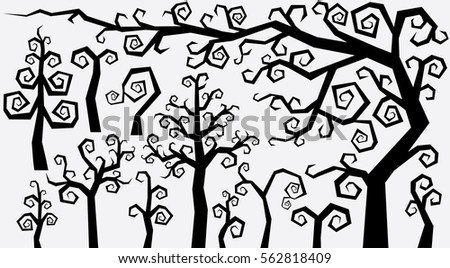 decorative curly style trees