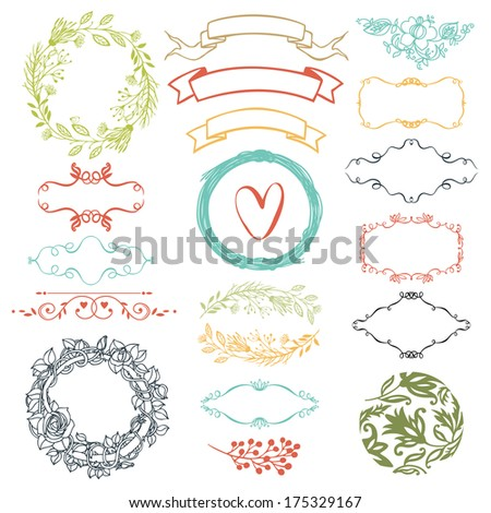 Decorative design elements ribbons heart and flowers
