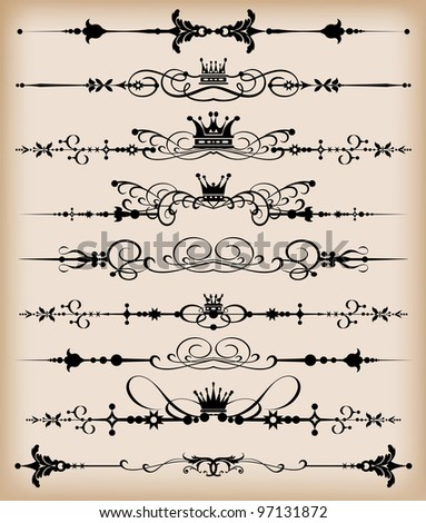 Decorative Dividers Vector set Ornamental Rule lines Calligraphy Vintage