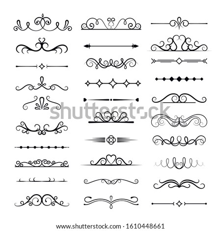 Decorative dividers, vintage traceries vector illustrations set. Curles and lines compositions, monochrome calligraphic shapes pack. Elegant borders collection isolated on white background