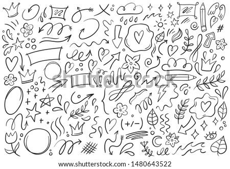 Decorative doodles. Hand drawn pointing arrow, outline shapes and doodle frames. Ink signs decoration ornament, line curved arrow, heart and circle sketch isolated vector illustration symbols set Foto stock ©