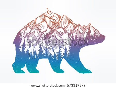 decorative double exposure bear