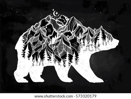 decorative double exposure bear ...