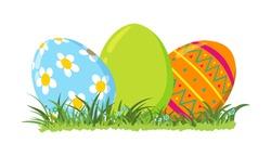 Decorative Easter eggs on green grass, vector illustration