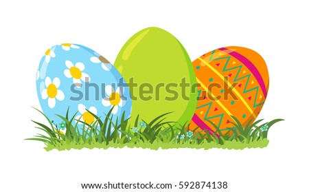 Decorative Easter Eggs On Green Grass Vector Illustration