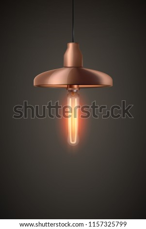 Decorative Edison light bulb in Retro design ceiling cone lamp. Vintage and antique style with copper. Original Vintage design. Vector Illustration