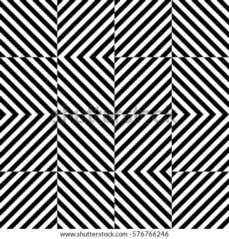 Decorative element, design template with striped black white diagonal inclined lines. Background, texture with figurative geometry. Dynamic tiles for card, app, web cover.