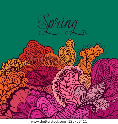 """Decorative element, lace border. """"Spring"""" lettering. Template wave design. Vector wave ornaments. Can be used for packaging,invitations, Valentine's Day decoration,bag template, print for packet, cup."""