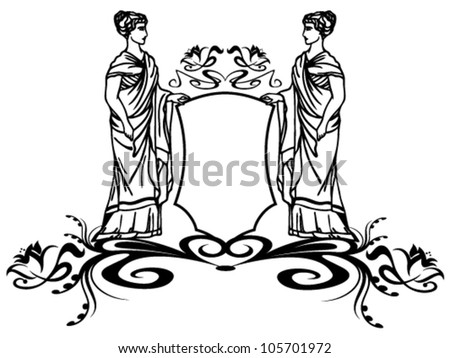 decorative element with ancient greek goddesses holding a shield - stock vector