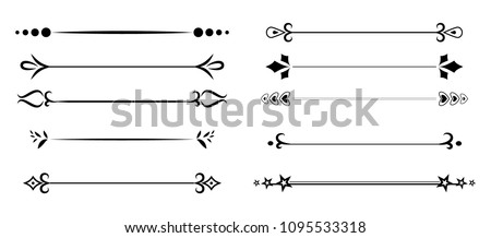 Decorative elements, Dividers vector set isolated. for wedding or card decoration and text design