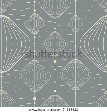 Decorative elements on gray background - seamless pattern