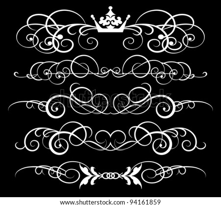 decorative elements, vintage ornaments, dividers, vector images for design in retro style on black background