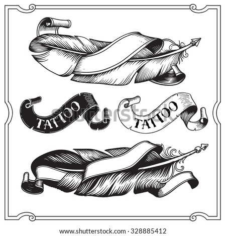 Decorative Feather vector set. Hand-drawn illustration. Tattoo black and wight