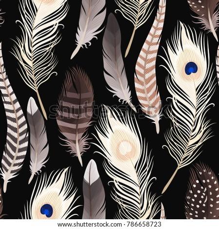 Decorative feathers seamless