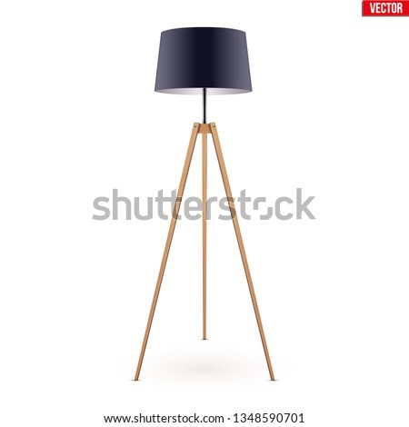 Decorative Floor Lamp Tripod Original Sample Model with Black Silk Shade and solid wood legs. For Loft, Living Room, Bedroom, Study Room and Office. Vector Illustration isolated on white background.