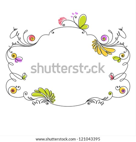 Decorative floral frame on white background