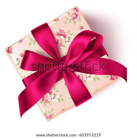 Gift box vector download free vector art stock graphics images decorative floral gift box with red bow top view vector gift box isolated on negle Image collections