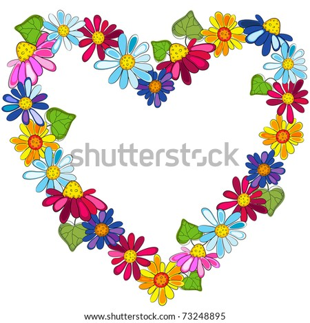 Decorative floral heart isolated on white background (vector)