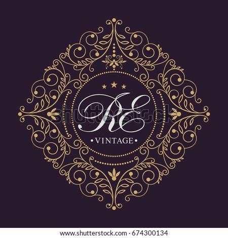 Decorative floral pattern. Gold graceful frame. Heraldic symbols. Monogram initials and exclusive calligraphic design elements. Vector.