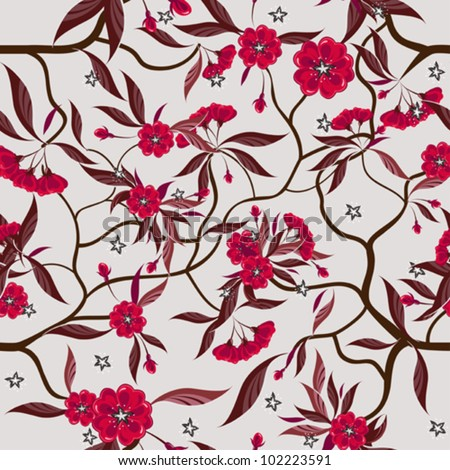 Decorative floral seamless pattern with red flowers.