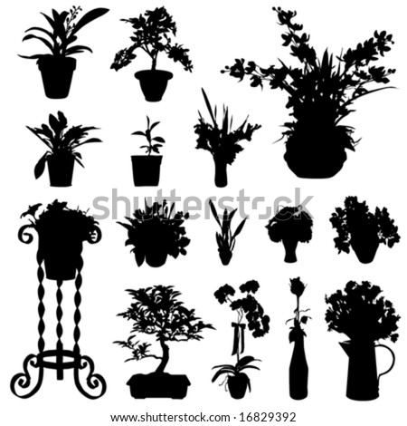 decorative flower in pot vector