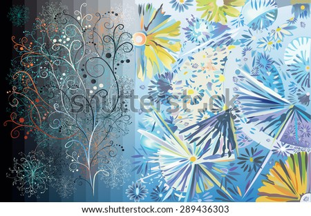 decorative flowers and tree on