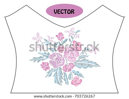 Decorative flowers in embroidery style on t-shirt or dress neck line. Editable colors.Can be used for fashion decorations, fabrics, manufacturing. Embroidery decorative flowers