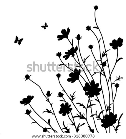 Decorative flowers silhouette. Cosmos bipinnatus