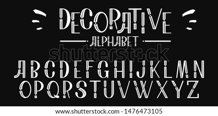 Decorative font design, geometric modern alphabet on a black background. Trendy letters in hand drawn style. Vector abstract typefaces, typography.