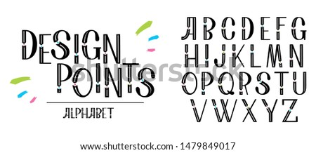 Decorative font design, geometric modern alphabet on a white background. Trendy letters in hand drawn style. Vector abstract typefaces, typography.