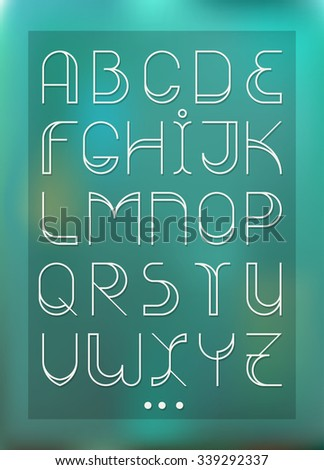 Decorative font with wide elements and strokes. Fashion font. Alphabet. One of color versions with holes. Blue gradient on background Stock fotó ©