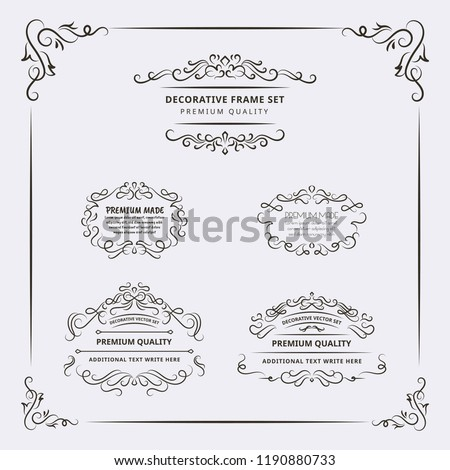Decorative Frame and Border Element Set. For any purpose of your designs such us certificate, invitation, print designs, web designs, etc.