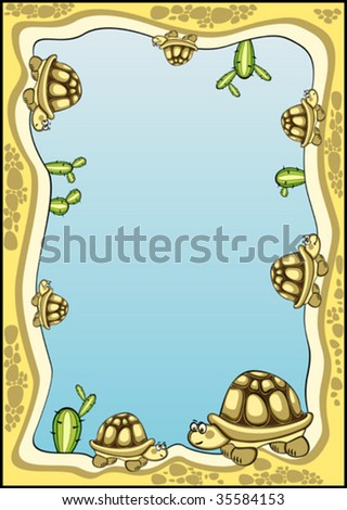 decorative frame  background with many tortoises and cactuses on it