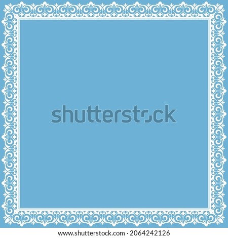 Decorative frame Elegant vector element for design in Eastern style, place for text. Floral blue and white border. Lace illustration for invitations and greeting cards