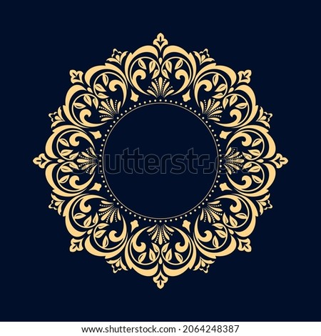 Decorative frame Elegant vector element for design in Eastern style, place for text. Floral golden and dark blue border. Lace illustration for invitations and greeting cards