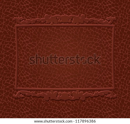Decorative frame on brown skin texture