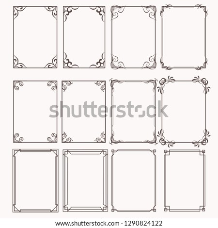 Decorative frames and borders rectangle proportions set #1290824122