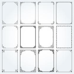 Decorative frames and borders standard rectangle proportions backgrounds vintage design elements set  vector