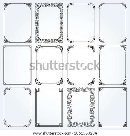 Decorative frames and borders standard rectangle proportions backgrounds vintage design elements set
