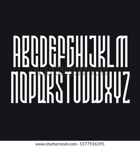 Decorative geometric alphabet, condensed bold font