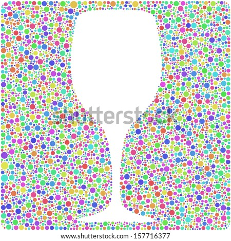 Decorative glass of wine into a square icon. Mosaic of harlequin bubbles. A number of 4819 little circles are accurately inserted into the mesh. White background