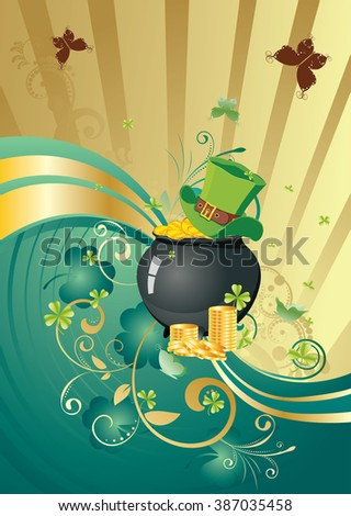 http://www.shutterstock.com/pic-387035458/stock-vector-decorative-gold-and-green-design-with-shamrock-for-st-patricks-day-holiday-background.html