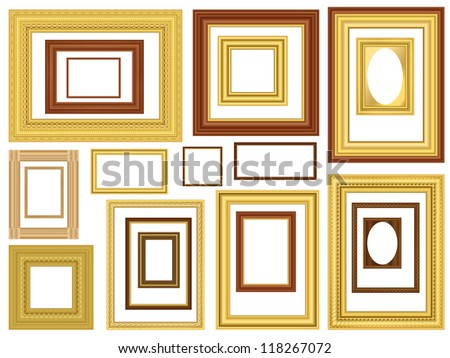 Decorative gold and wooden vector picture frames