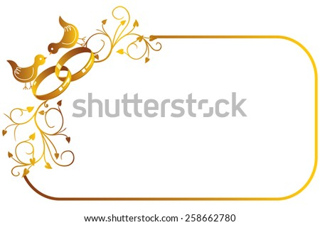 Free wedding frames vector download free vector art stock decorative gold frame with wedding rings and birds junglespirit Images