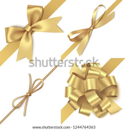 Decorative golden bow with diagonally ribbon for corner decor. New year holiday decorations set. Vector illustration