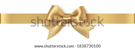 Decorative golden bow with horizontal gold ribbon isolated on white background. Christmas yellow bow. Vector illustration