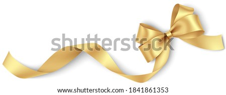 Decorative golden bow with long ribbon isolated on white background. Holiday decoration. Vector illustration. Foto stock ©