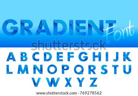 Decorative Gradient blue alphabet font. Letters for logo and design typography. Vector flat illustration