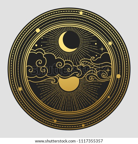 Decorative graphic design element in oriental style. Sun, Moon, clouds, stars. Vector hand drawn illustration